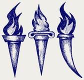 Ensemble de torches de flamber Images stock