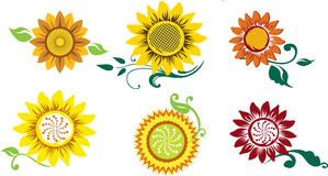 Ensemble de tournesols stylisés Photo stock
