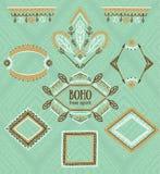 Ensemble de trames ornementales Collection indienne de vecteur pour la conception de BOHO Images libres de droits