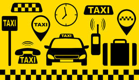 Ensemble de transport d'objets de taxi Image stock