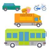 Ensemble de transport de ville d'icônes plates colorées Vecteur illustration de vecteur