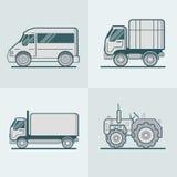 Ensemble de transport routier de Van Lorry Tractor d'autobus S linéaire Photos libres de droits