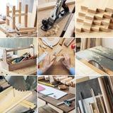 Ensemble de travail du bois et de menuiserie Image libre de droits