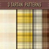 Ensemble de trois échantillons de plaid de tartan dans le vecteur Images stock
