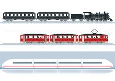 Différents trains de chemin de fer Photos libres de droits