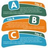 Ensemble de trois bannières colorées horizontales d'options Image libre de droits