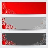 Ensemble de trois bannières de jour de valentines Images libres de droits