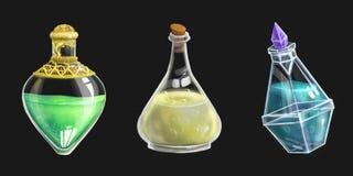 Ensemble de trois bouteilles de breuvage magique illustration libre de droits
