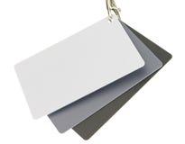Ensemble de trois cartes de référence de couleur d'isolement sur le blanc Photo libre de droits