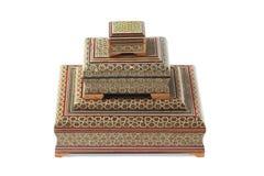 Ensemble de trois cercueils différents. Photographie stock