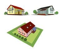 Ensemble de trois cottages Image libre de droits