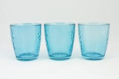 Ensemble de trois cuvettes bleues Photographie stock libre de droits