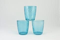 Ensemble de trois cuvettes bleues Photo stock