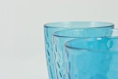 Ensemble de trois cuvettes bleues Images stock