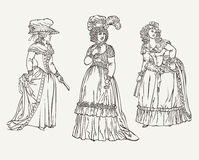 Ensemble de trois dames de mode de vintage illustration libre de droits