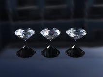 Ensemble de trois diamants merveilleux ronds Images libres de droits