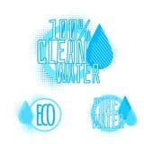 Ensemble de trois insignes clairs de l'eau Images libres de droits