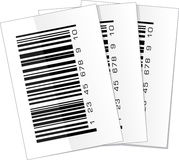 Ensemble de trois labels de code barres Photos stock