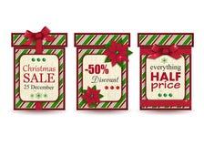Ensemble de trois labels de vente de Noël de vintage Photos stock