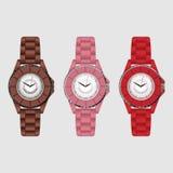 Ensemble de trois montres-bracelet colorées de silicone Photo libre de droits
