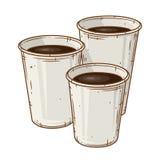 Ensemble de trois tasses de café de papier au-dessus du fond blanc Tasse de café de bande dessinée Photo libre de droits