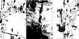 Ensemble de trois textures tirées par la main noires et blanches pour votre conception Photographie stock libre de droits