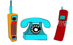 ensemble de trois vieux boutons bleus rétro de vintage jaune et rouge avec téléphones portables de place de vintage les premiers  illustration libre de droits