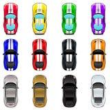 Ensemble de trois voitures dans quatre couleurs différentes Photographie stock libre de droits