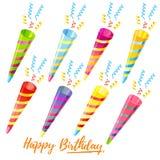 Ensemble de trompette de joyeux anniversaire illustration stock
