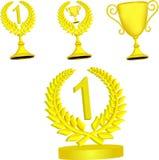 Ensemble de trophées d'or illustration de vecteur