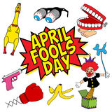 Ensemble de trucs marrants d'April Fools Day illustration libre de droits