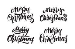 Ensemble de type calligraphique manuscrit lettrage de Joyeux Noël Conception de typographie pour des cartes de voeux Photo stock