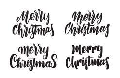 Ensemble de type manuscrit lettrage de Joyeux Noël Conception de typographie pour des cartes de voeux Photo stock
