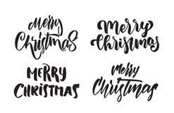 Ensemble de type moderne manuscrit lettrage de Joyeux Noël Conception de typographie pour des cartes de voeux Image stock