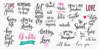 Ensemble de typographie de citation de jour de valentines d'amour illustration de vecteur