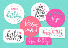 Ensemble de typographie de citation de signe de lettrage de joyeux anniversaire Photos libres de droits