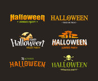 Ensemble de typographie de Halloween Images stock