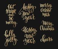 Ensemble de typographie de lettrage de Noël illustration libre de droits