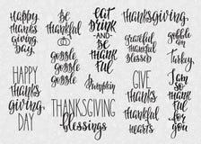 Ensemble de typographie de lettrage de thanksgiving illustration stock