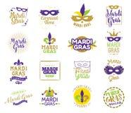 Ensemble de typographie de Mardi Gras Image libre de droits