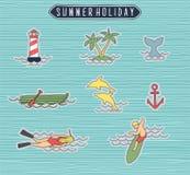 Ensemble de vacances d'été ou de label de plage Photos libres de droits