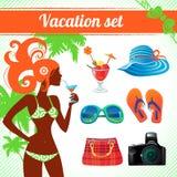 Ensemble de vacances et d'icône de voyage Images stock