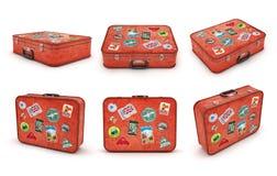 Ensemble de valises de voyage avec des autocollants illustration de vecteur