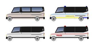 Ensemble de Van car, de police de cargaison de passager et d'ambulance illustration libre de droits