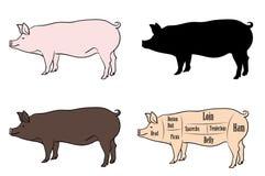 Ensemble de variation de pièces de porc illustration libre de droits
