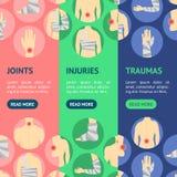Ensemble de Vecrtical de bannière de douleur de bandage réglé par blessures humaines et de centre Vecteur Photos stock