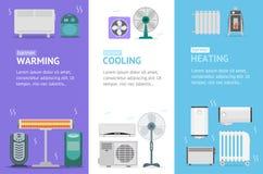Ensemble de Vecrtical de carte de bannière de dispositifs chauffant, de refroidissement et de chauffage Vecteur illustration de vecteur
