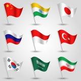 Ensemble de vecteur économies de ondulation de pays de drapeaux de plus grandes sur le poteau argenté - icône de porcelaine d'éta illustration de vecteur