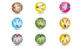 Ensemble de vecteur abstrait de logos de sphère Photographie stock libre de droits