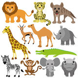 Ensemble de vecteur animaux africains Image stock